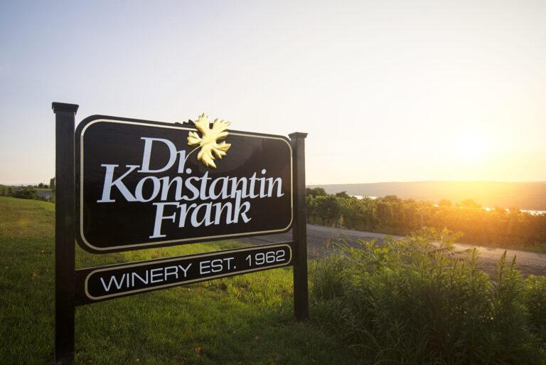 dr frank winery sign overlooking Keuka Lake