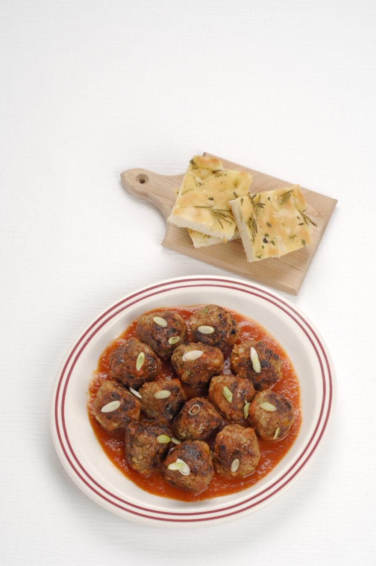 duck meatballs in bowl